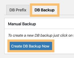DB Backup > Create DB Backup Now