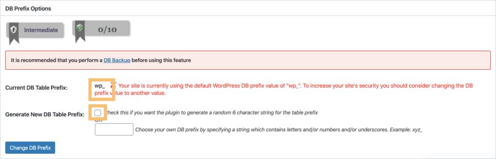 DB Prefix Options