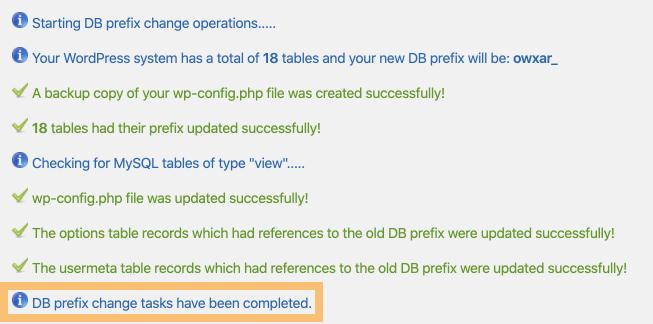 DB prefix change tasks have been completed.