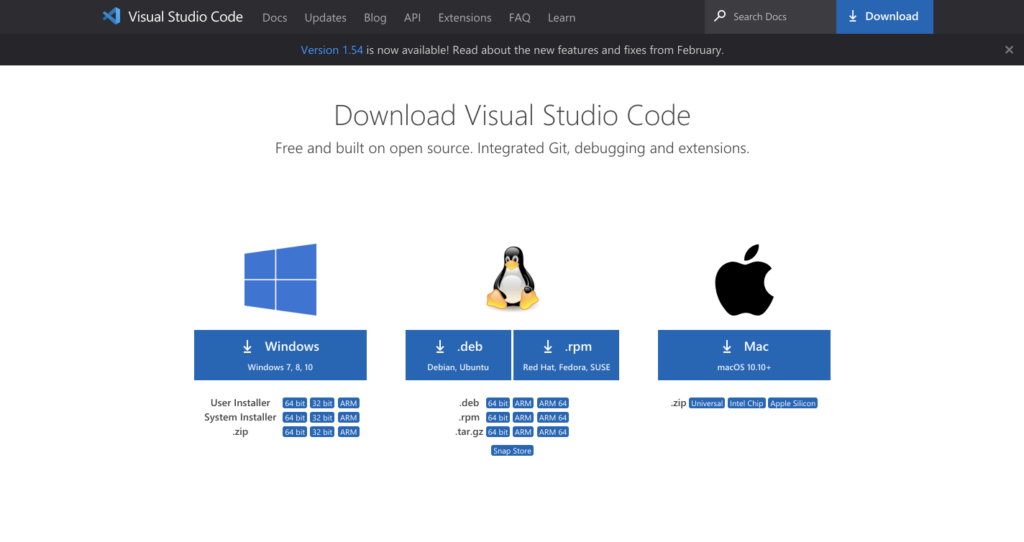 VS Codeのダウンロードページ